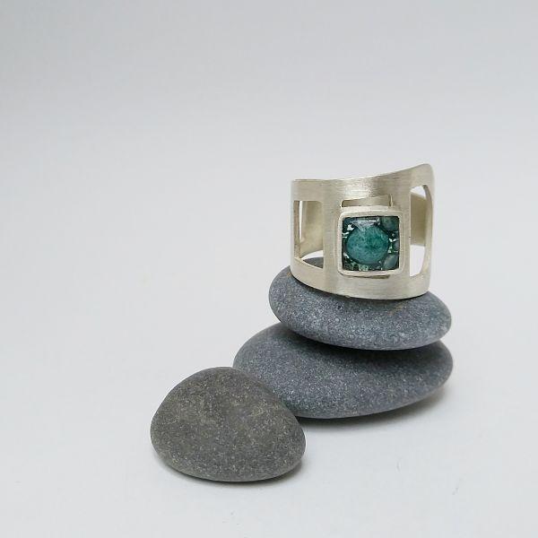 anillo natalia morbelli vidrio y plata