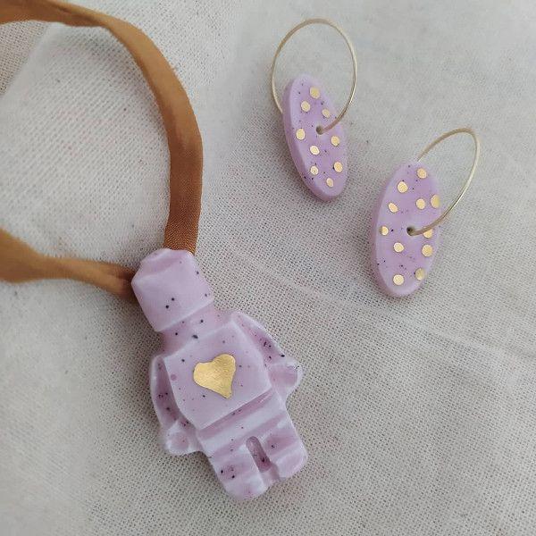filigranaart collar muñeco lego rosa